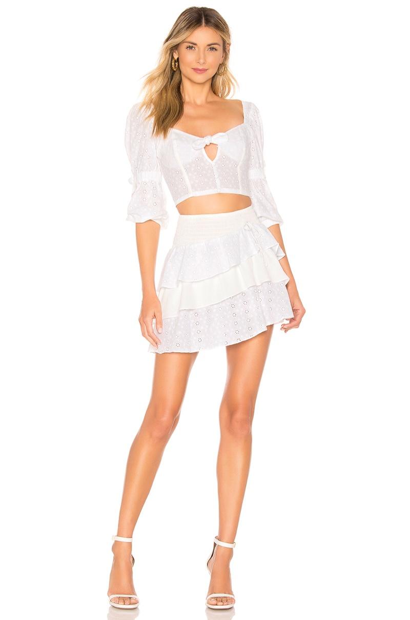 For Love & Lemons Bora Bora Blouse $141 and Skirt $158