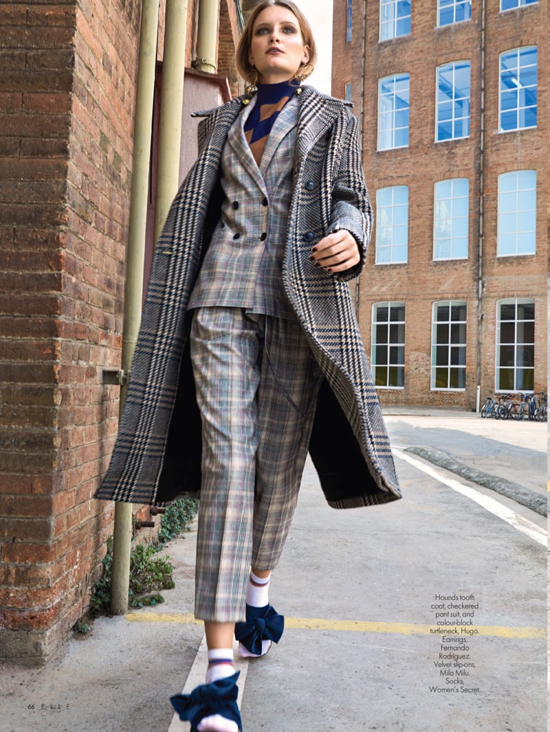 Franciska Gall Models Checkered Fashions for ELLE Middle East