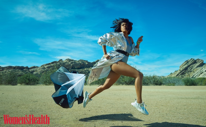 Making a move, Gabrielle Union poses in Milly Anorak, American Apparel bodysuit and Roberto Cavalli sneakers