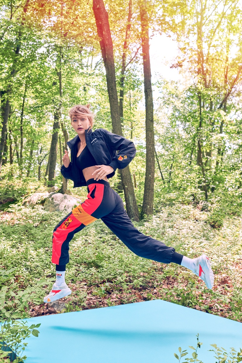 Showing off her moves, Gigi Hadid poses in her new Reebok collection