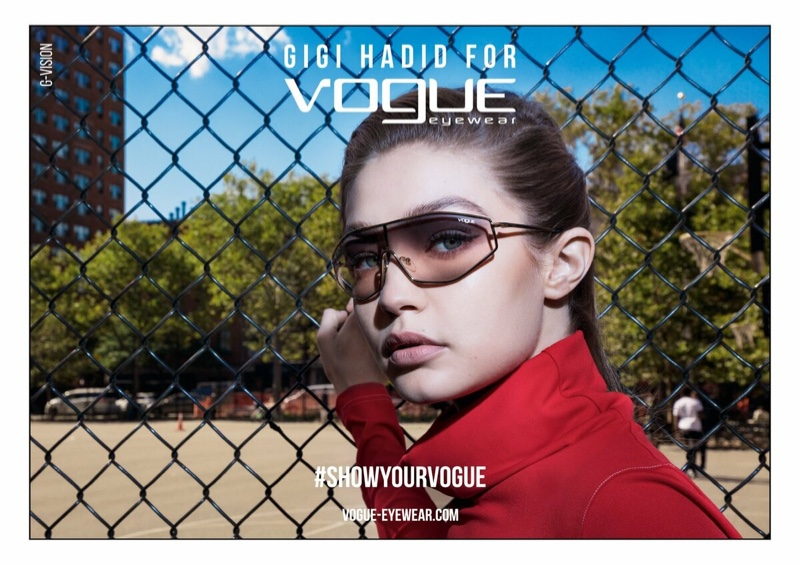 50ab160676d Supermodel Gigi Hadid wears Vogue Eyewear spring 2019 collaboration
