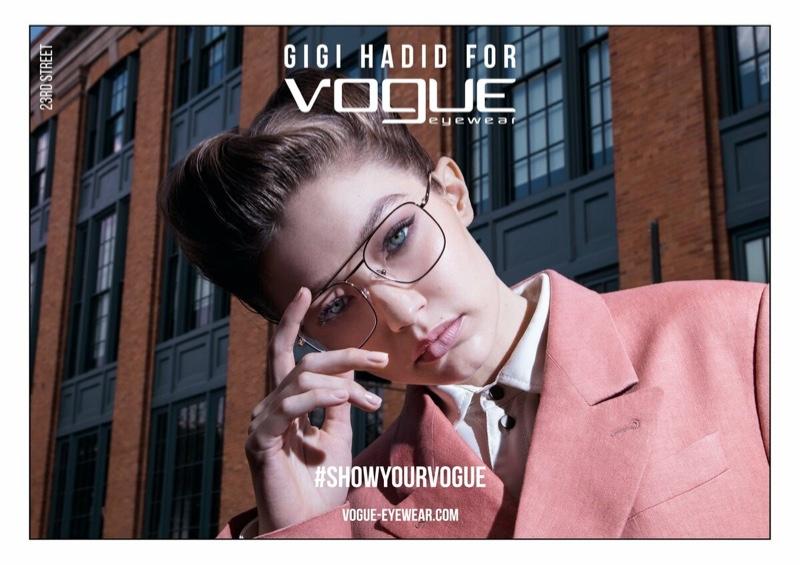 Gigi Hadid suits up for Vogue Eyewear spring 2019 collaboration