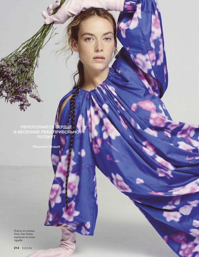 Hannah Ferguson Embraces Floral Prints for ELLE Russia