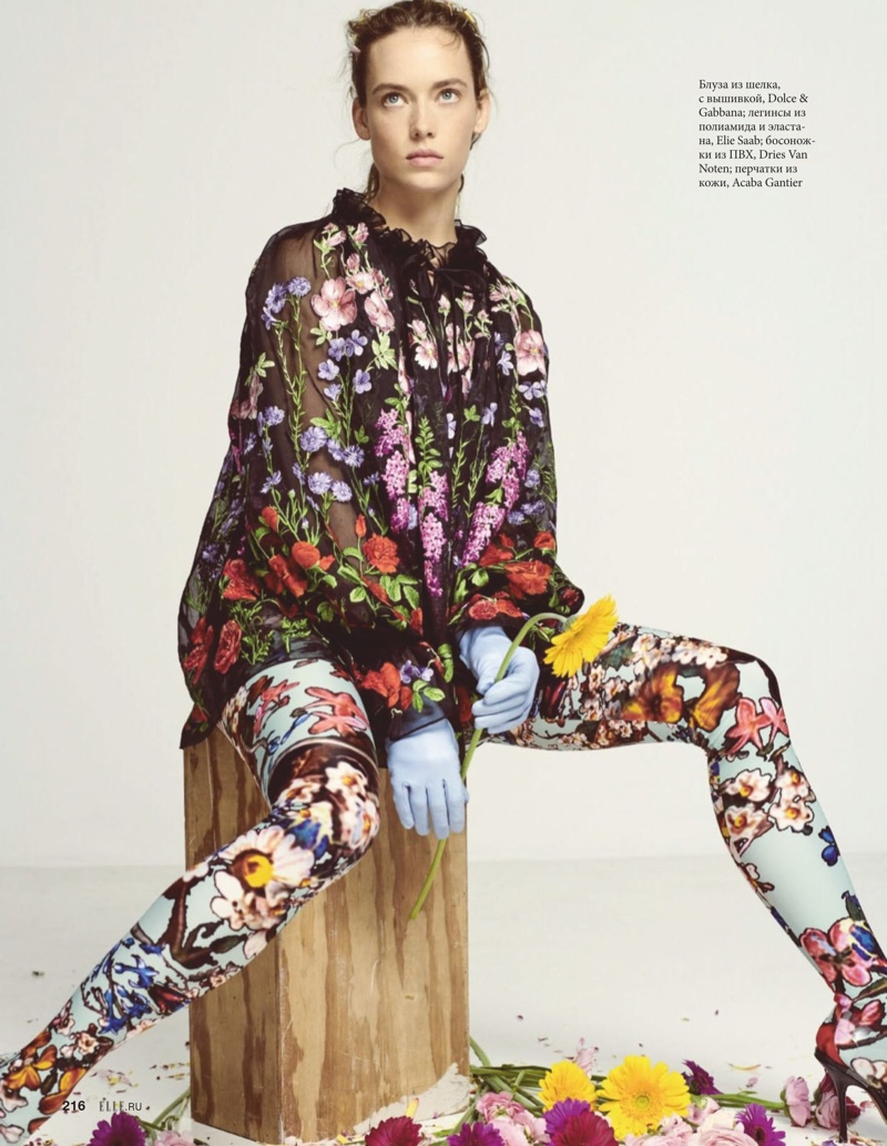 Hannah Ferguson Embraces Floral Prints for ELLE Russia