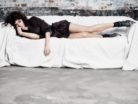 Helena Christensen Poses in Leather Looks for Tatler Russia