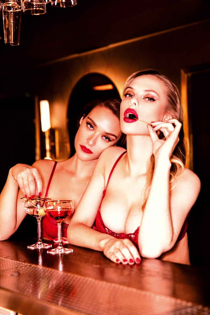 Dioni Tabber and Charlie Dupont look red-hot in Honey Birdette London Calling campaign