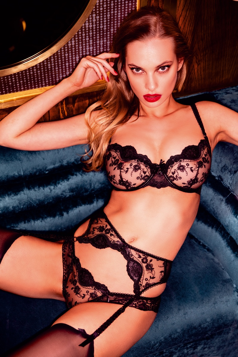 Dioni Tabbers fronts Honey Birdette London Calling lingerie campaign