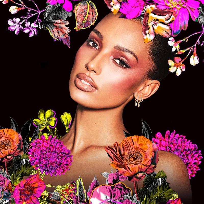 Angel Jasmine Tookes poses for Victoria's Secret Bombshell Wild Flower campaign