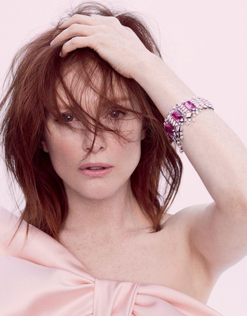 Julianne Moore wears Lars Nord custom bow and Cartier bracelet