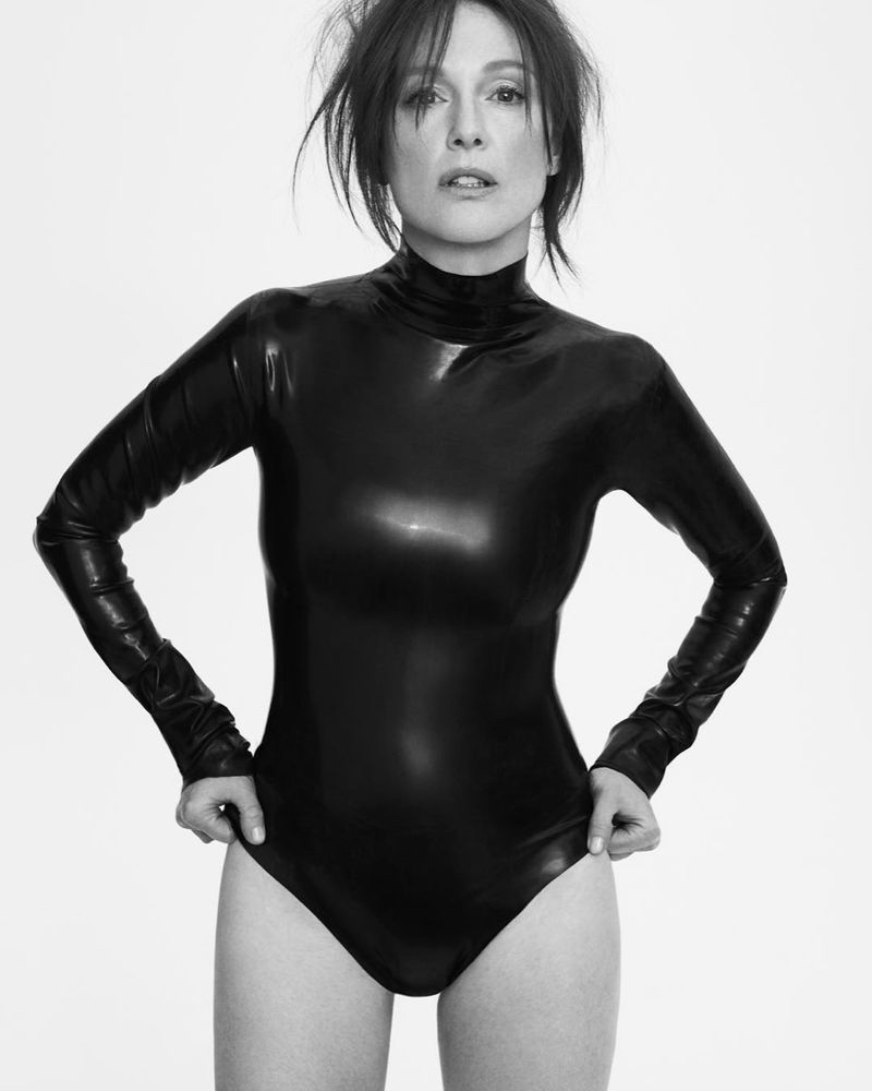 Actress Julianne Moore poses in long-sleeve Gucci bodysuit