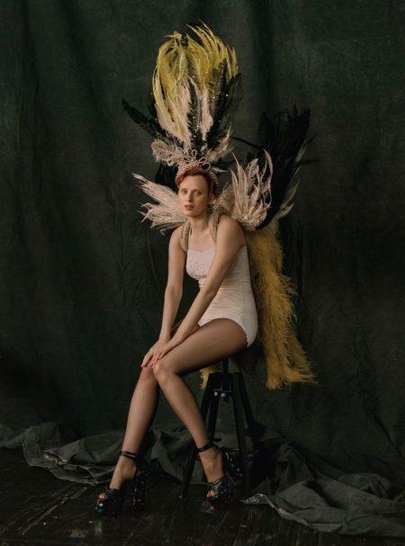 Karen Elson Enchants in Feathers for Vogue Brazil