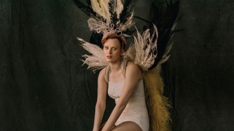 Karen Elson Enchants in Feathers for Vogue Brazil
