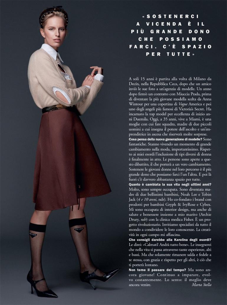 Karolina Kurkova Models Chic Styles for Marie Claire Italy