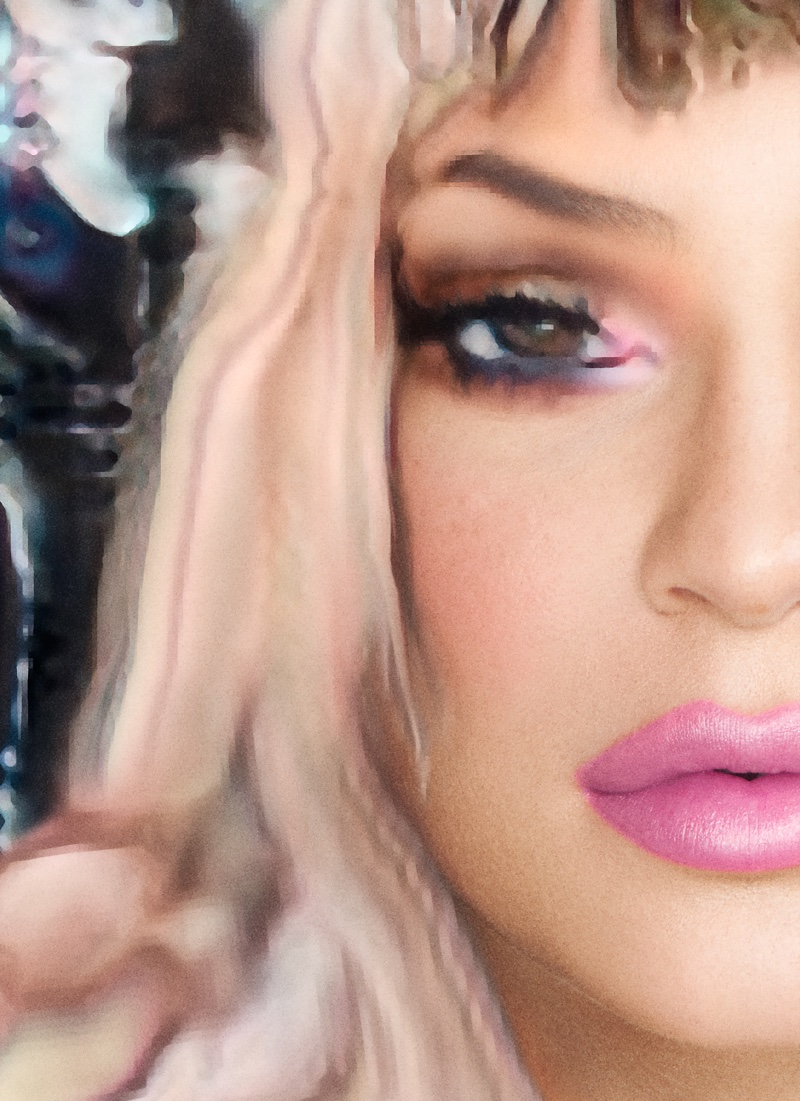 Kylie Jenner wears pink lipstick and bright eyeshadow