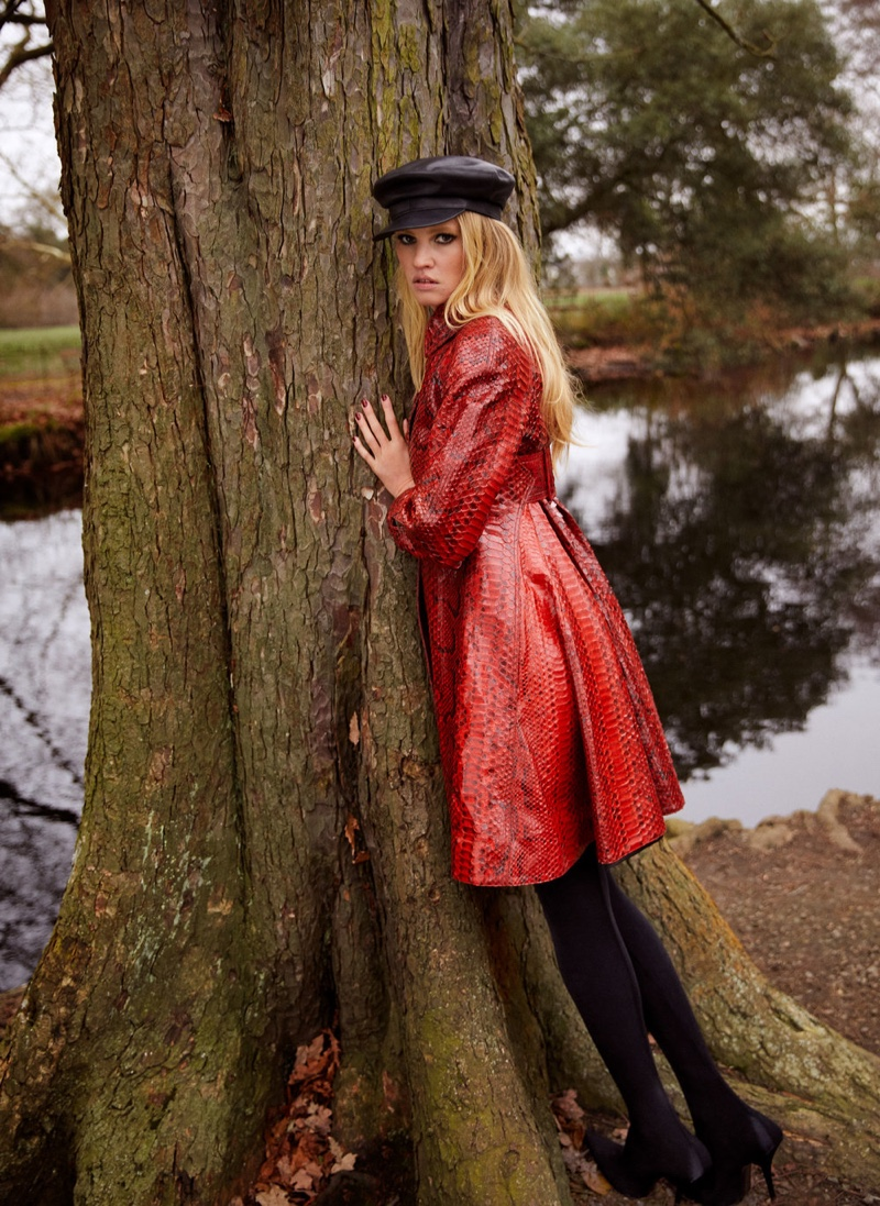 Lara Stone Poses in Elegant Fashions for InStyle