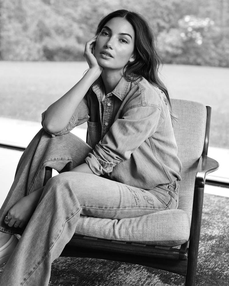 Lily Aldridge poses in denim on denim look for Lauren by Ralph Lauren spring-summer 2019 campaign