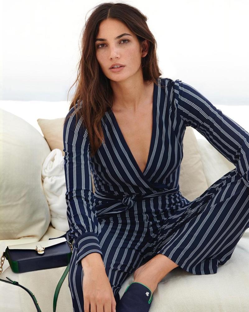 Lily Aldridge models striped jumpsuit in Lauren Ralph Lauren spring-summer 2019 campaign