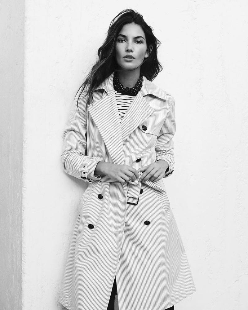 Wearing a trench coat, Lily Aldridge appears in Lauren Ralph Lauren spring-summer 2019 campaign