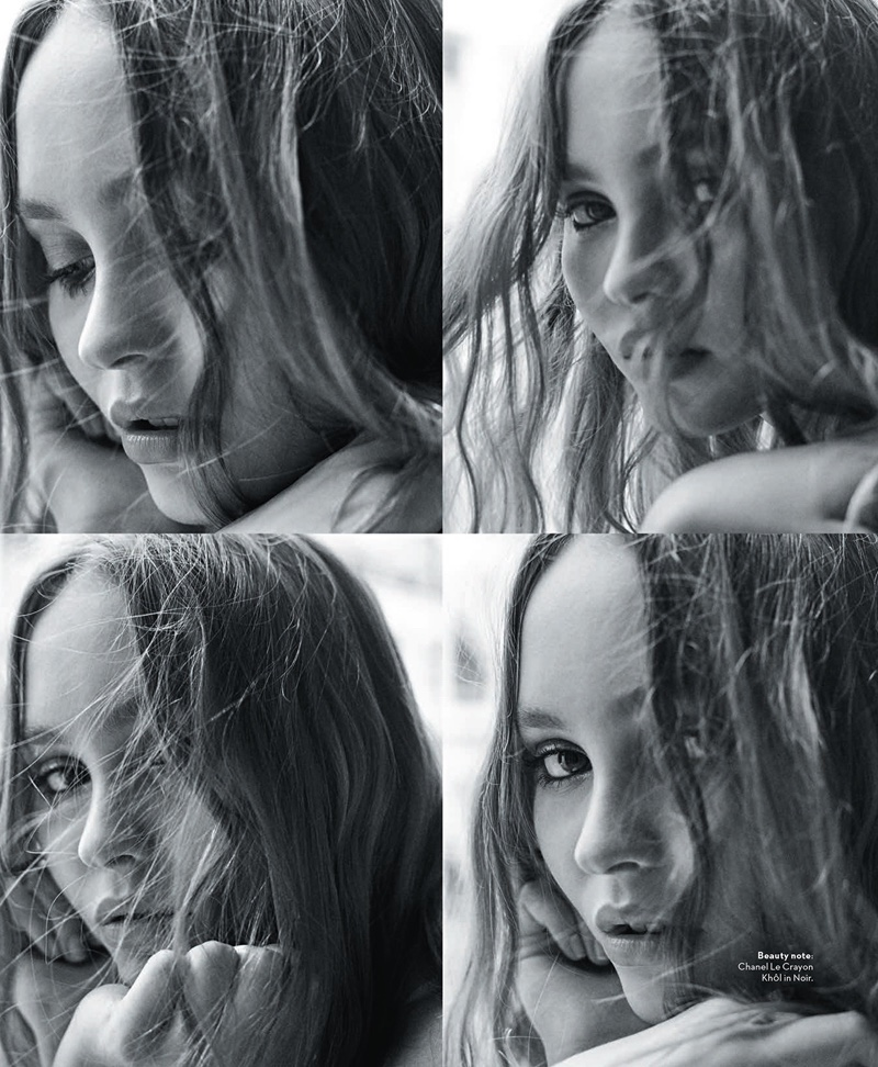 Getting her closeup, Lily-Rose Depp poses in black and white