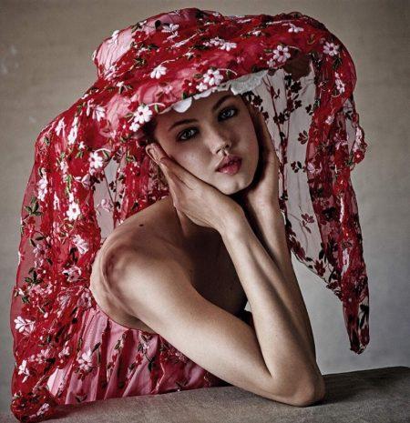 Lindsey Wixson Poses in Elegant Dresses for Stylist UK