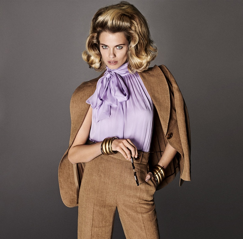 1fe85a02443 ... Model Hailey Clauson suits up in Luisa Spagnoli spring-summer 2019  campaign