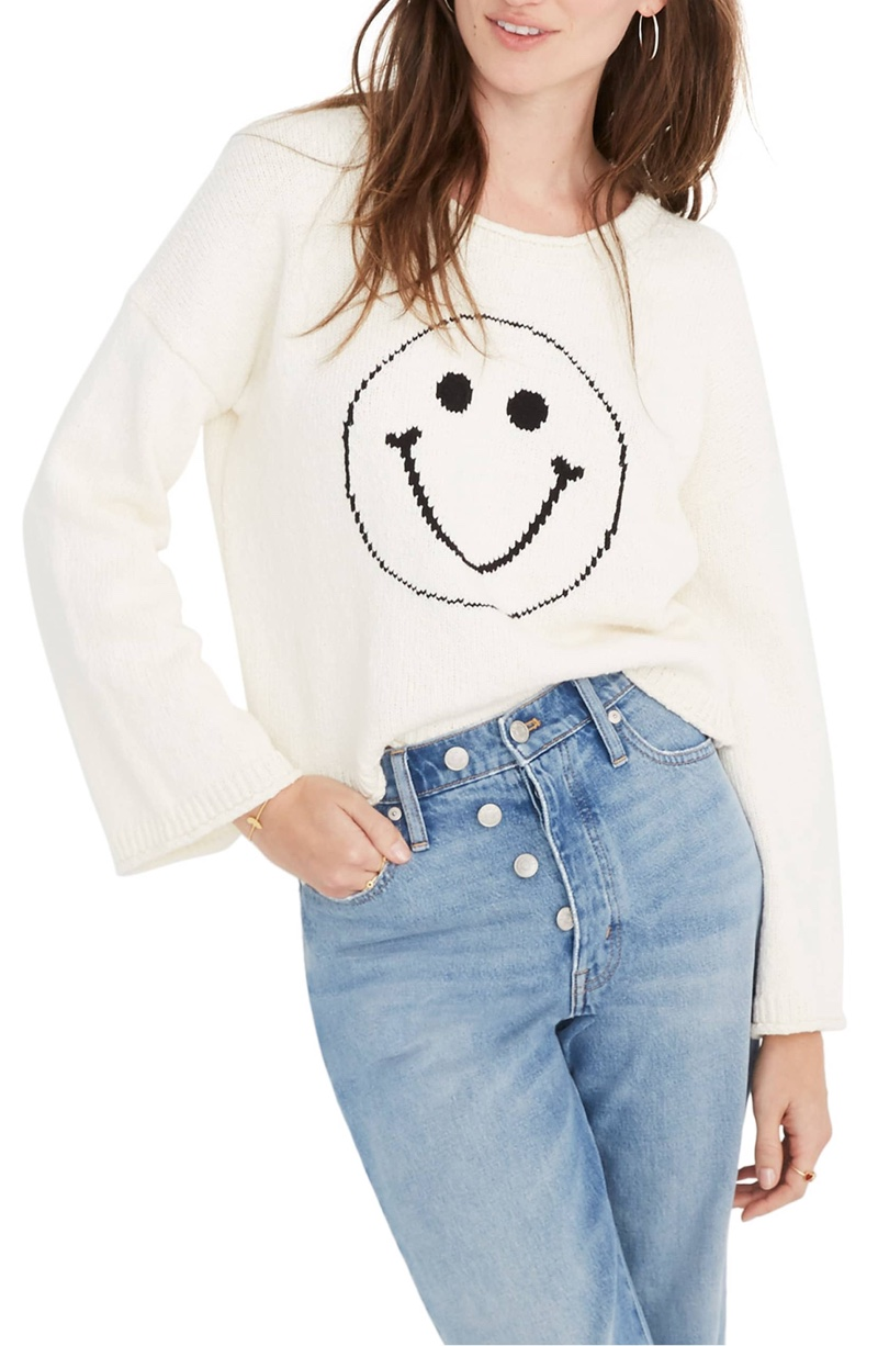 Madewell Brownstone Smiley Face Pullover Sweater $79.50
