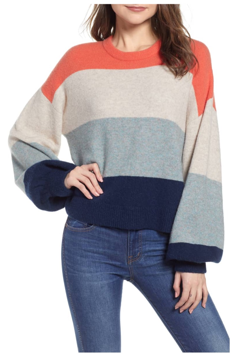 Madewell Striped Ballon-Sleeve Pullover Sweater $88