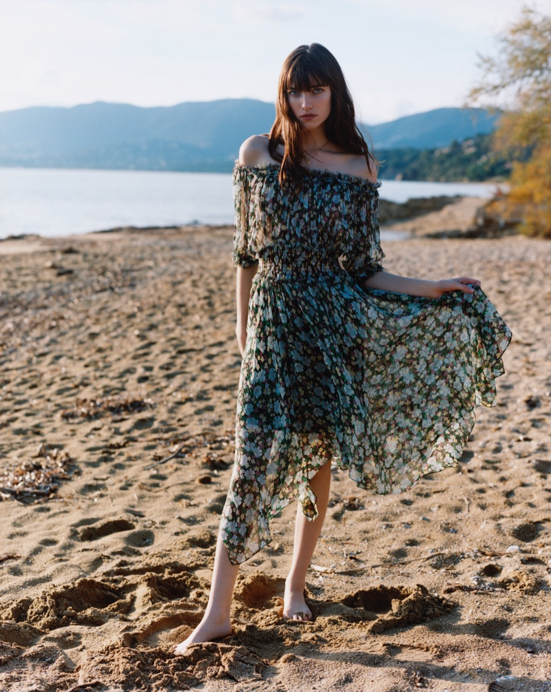 Posing at the beach, Grace Hartzel fronts Maje spring-summer 2019 campaign