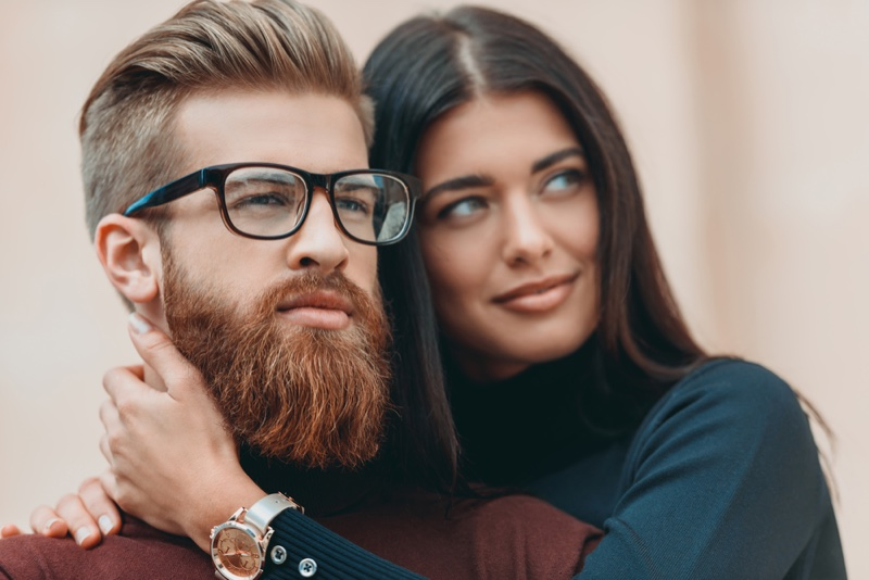 Man with Red Beard, Posing with Woman