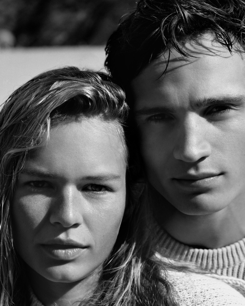 Anna Ewers and Julain Schneyder pose in black and white for Marc O'Polo spring-summer 2019 campaign