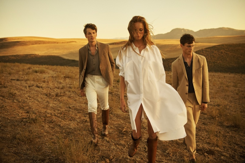 Rianne van Rompaey,  Luc Defont and Hugo Sauzay front Massimo Dutti spring-summer 2019 campaign