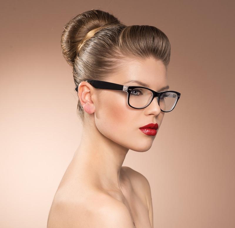 Model Wearing Optical Glasses