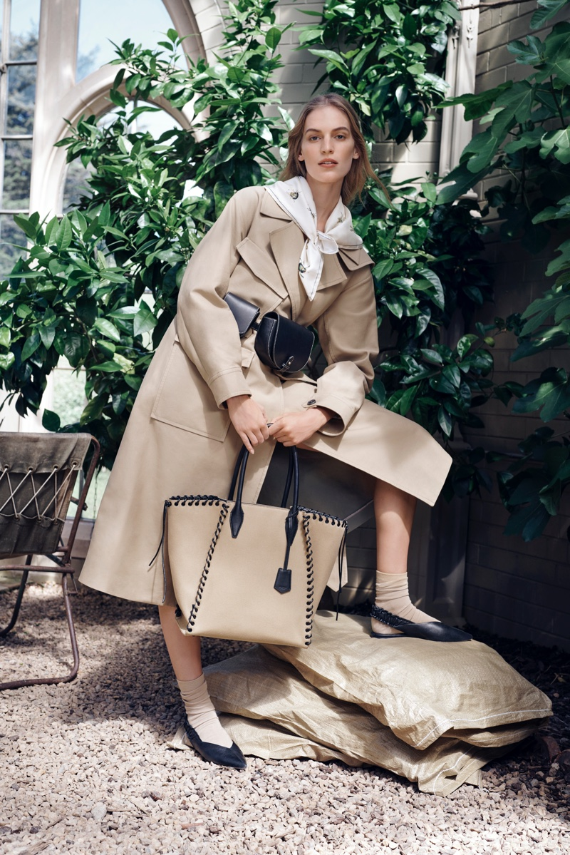 Vanessa Axente models a trench coat in Oroton fall-winter 2019 campaign