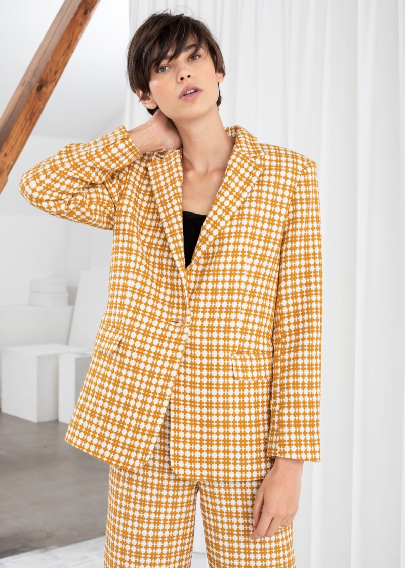 & Other Stories Cross Stitch Plaid Blazer $129