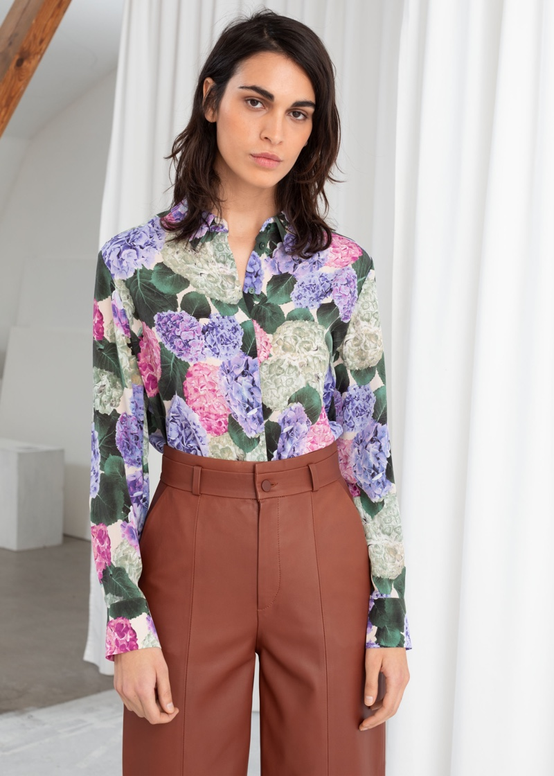& Other Stories Floral Print Silk Shirt $119