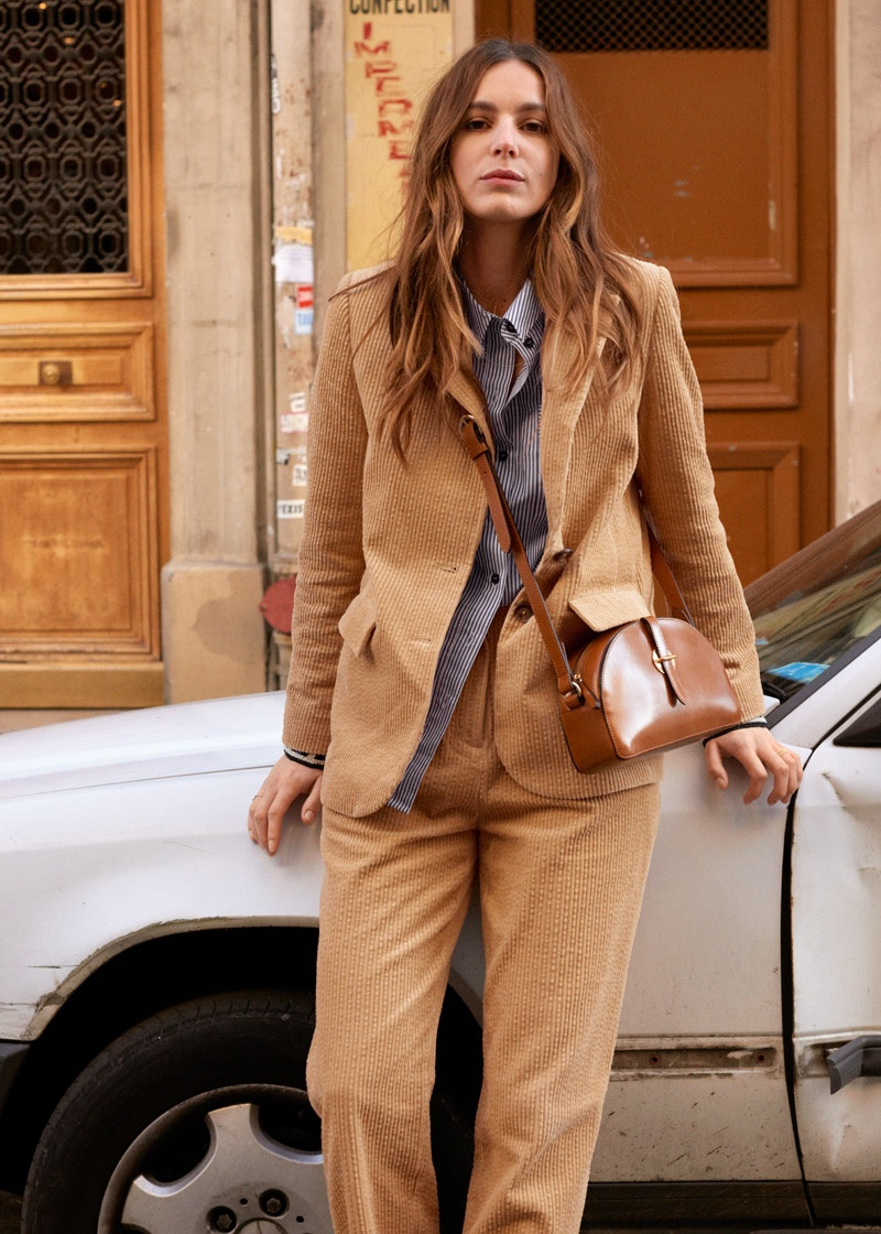 & Other Stories Corduroy Blazer $129, Beaded Pinstripe Button Up Shirt $99, High Waisted Corduroy Trousers $79 and Leather Half Moon Crossbody Bag $129