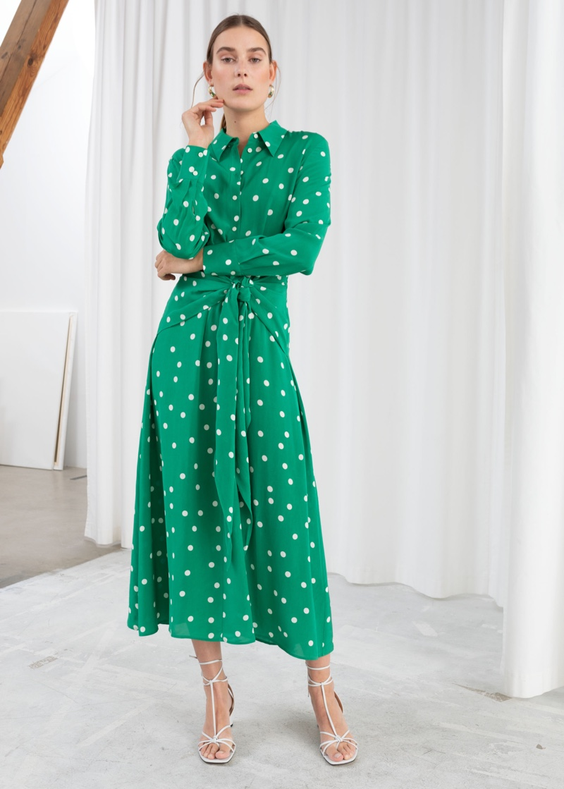 & Other Stories Polka Dot Waist Tie Midi Dress $129