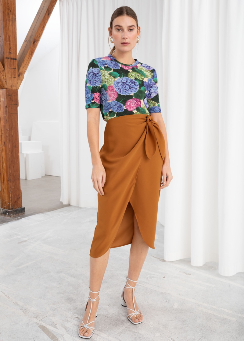 & Other Stories Sarong Wrap Midi Skirt $79