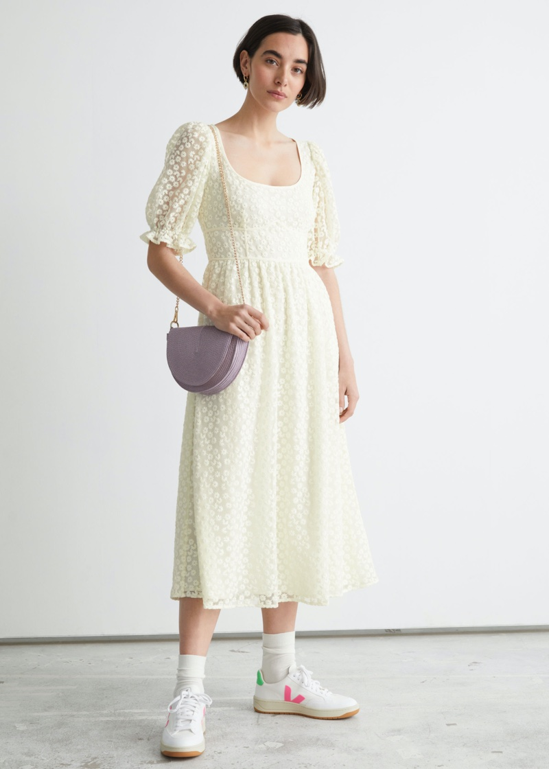 & Other Stories Square Neck Lace Midi Dress $149