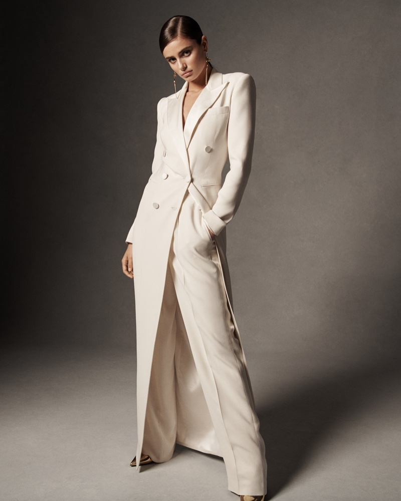 Model Taylor Hill poses in tuxedo gown from Ralph Lauren spring 2019 collection