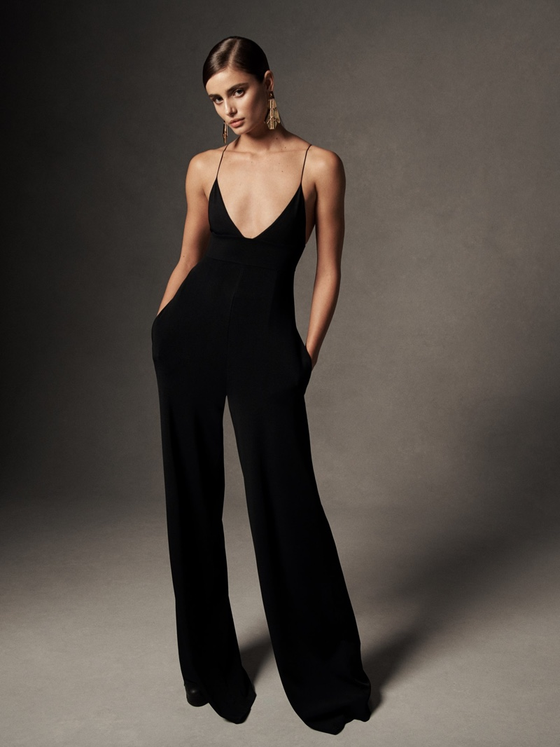 Taylor Hill models knit jumpsuit from Ralph Lauren spring-summer 2019 collection
