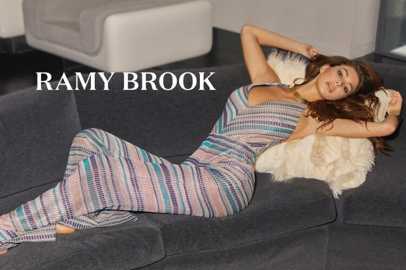 Camila Morrone models striped jumpsuit in Ramy Brook spring-summer 2019 campaign
