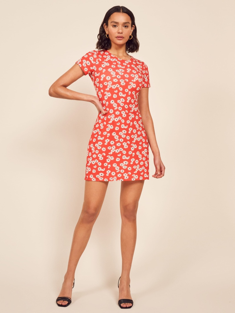 Reformation Inga Dress in Oopsie Daisy $78