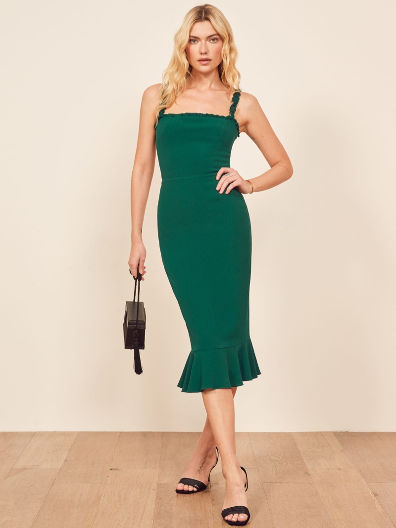 Reformation Wilshire Dress in Emerald $218