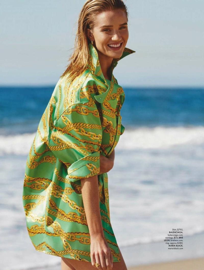 Rosie Huntington-Whiteley Poses in Beach Styles for ELLE Australia