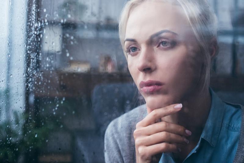 Sad Depressed Woman Rain