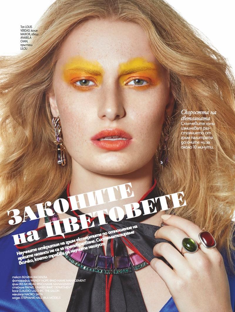 Stephanie Hall Models Spring Beauty for ELLE Bulgaria