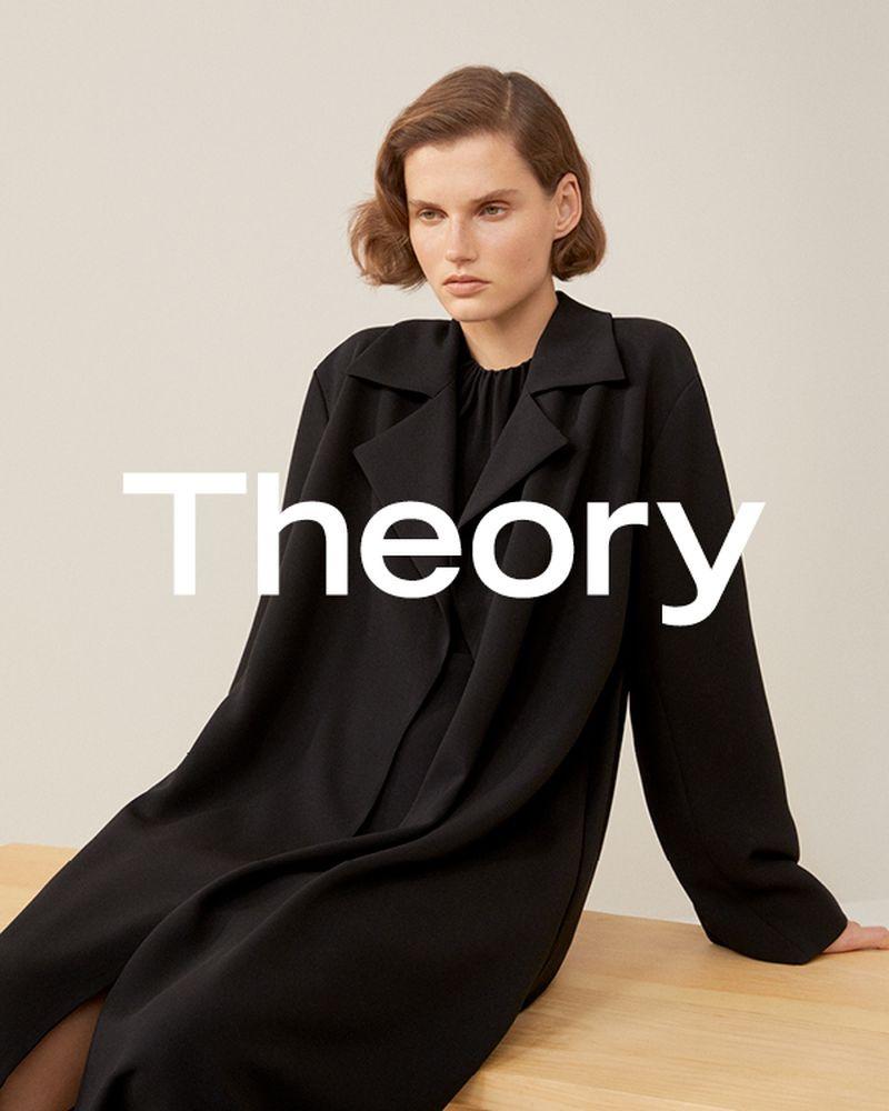 Giedre Dukauskaite wears a black ensemble in Theory spring-summer 2019 campaign