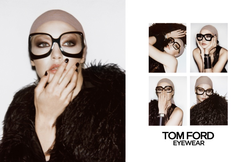 Gigi Hadid wears glasses in Tom Ford spring-summer 2019 campaign