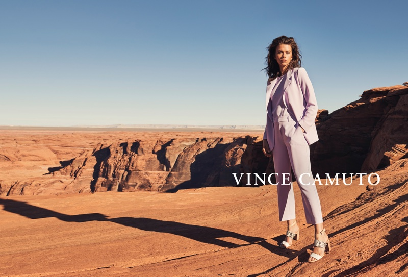 Georgia Fowler suits up in Vince Camuto spring-summer 2019 campaign